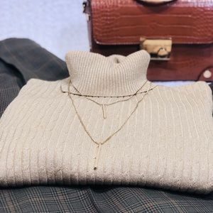 Silk Blend Gold Metallic Turtleneck Sweater Size L
